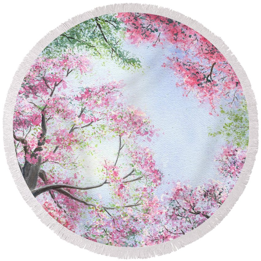 Tree Blossoms Round Beach Towel featuring the painting Spring Blossoms by Lynn Quinn