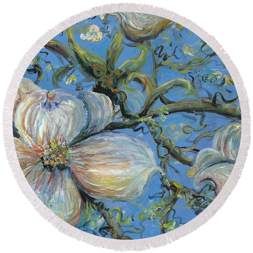 Flower Round Beach Towel featuring the painting Spring Blossoms by Nadine Rippelmeyer
