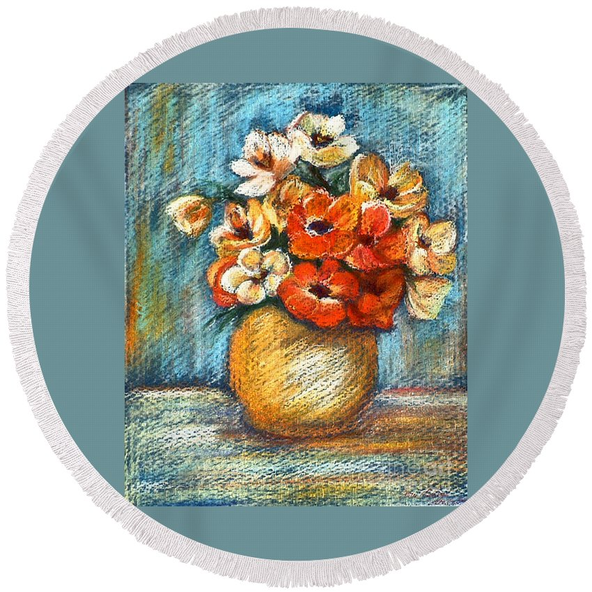 Stilllife Round Beach Towel featuring the drawing Spring Bouquet by Portraits By NC