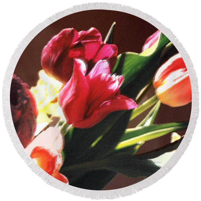 Floral Still Life Round Beach Towel featuring the photograph Spring Bouquet by Steve Karol