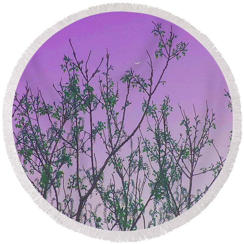Elegant Round Beach Towel featuring the photograph Spring Branches Lavender by Marisela Mungia