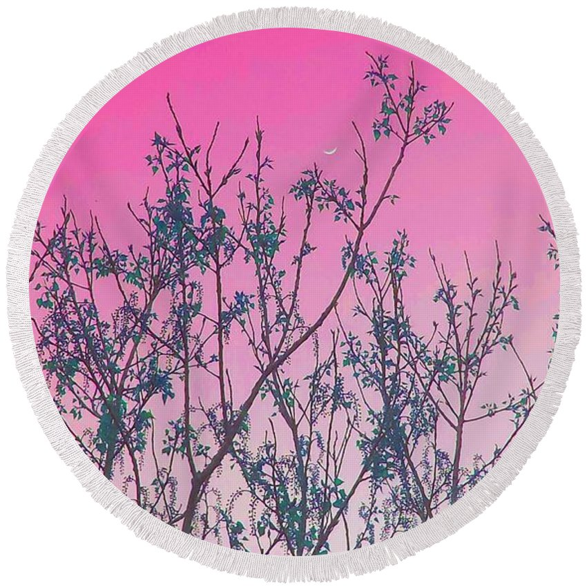 Elegant Round Beach Towel featuring the photograph Spring Branches Rose by Marisela Mungia