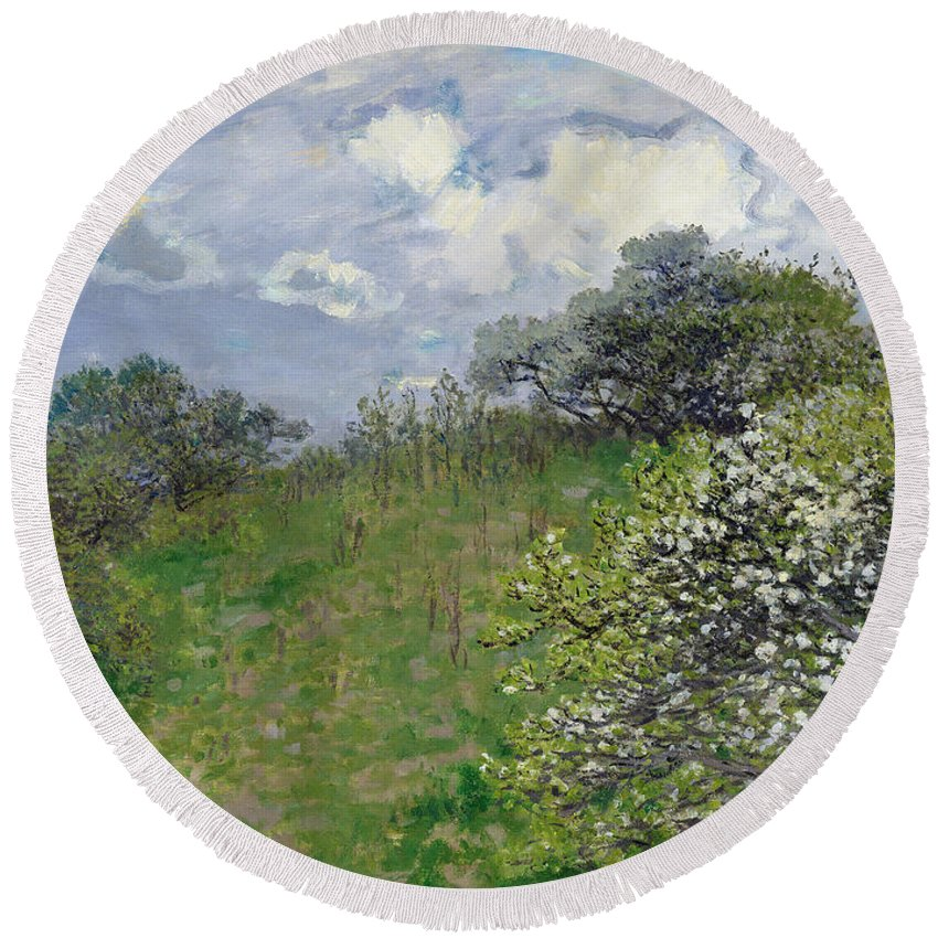 Spring Round Beach Towel featuring the painting Spring by Claude Monet