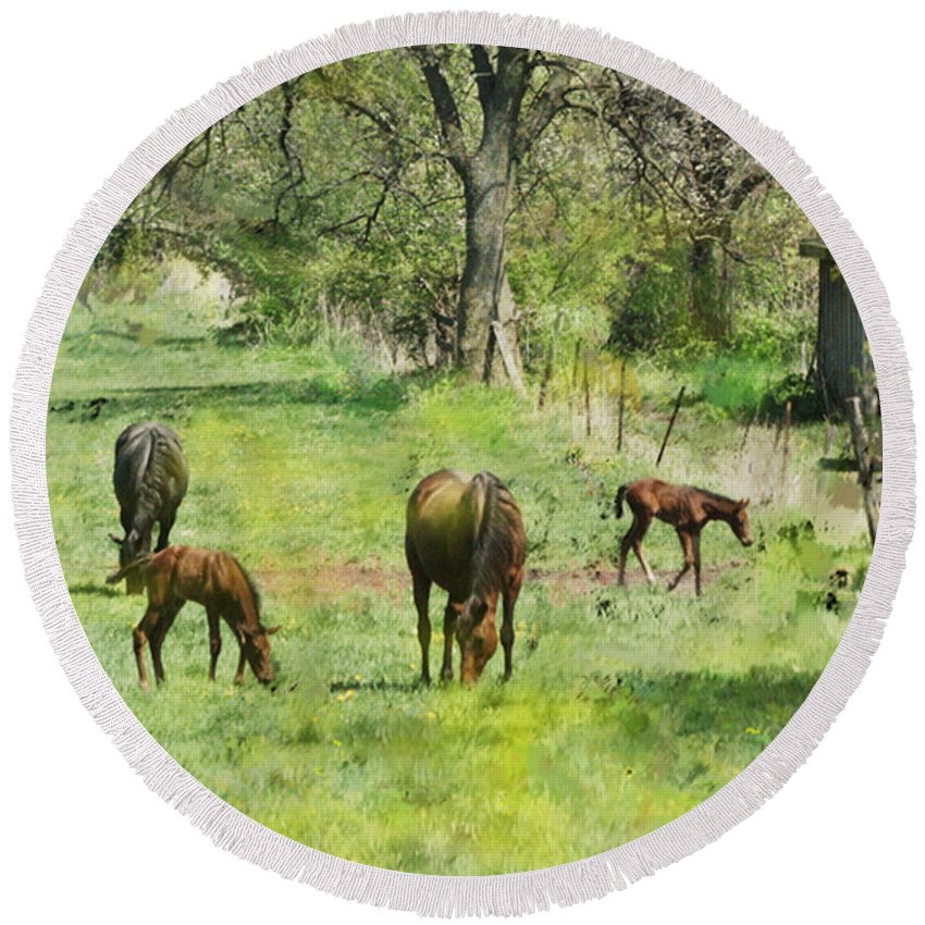Spring Colts Round Beach Towel featuring the digital art Spring Colts by John Beck