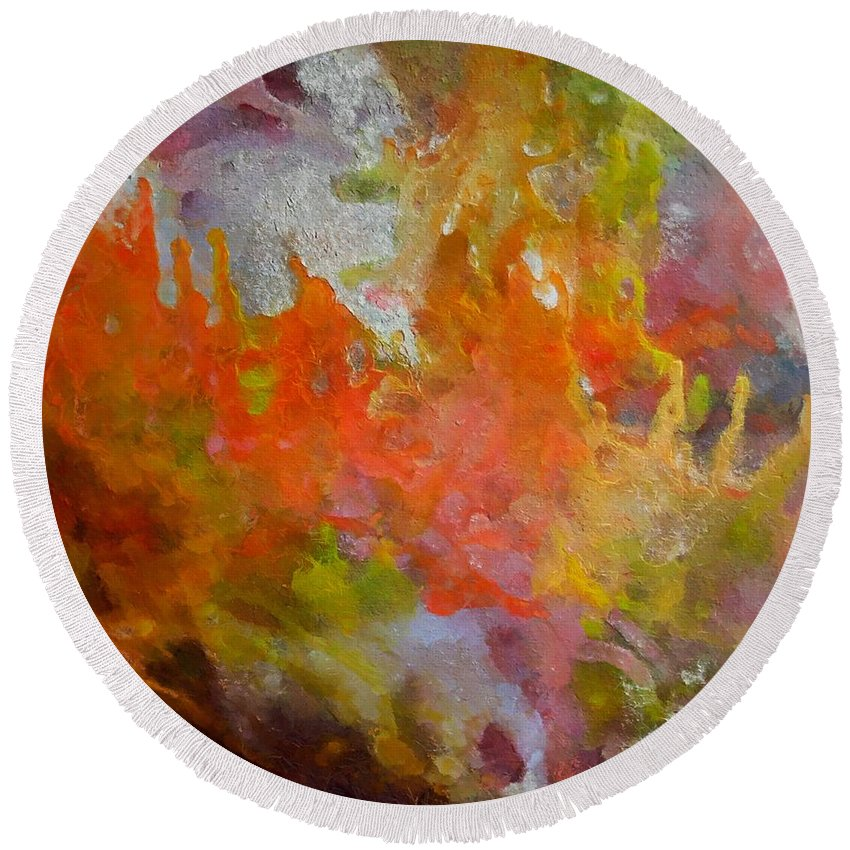 Abstract Round Beach Towel featuring the painting Spring by Dragica Micki Fortuna