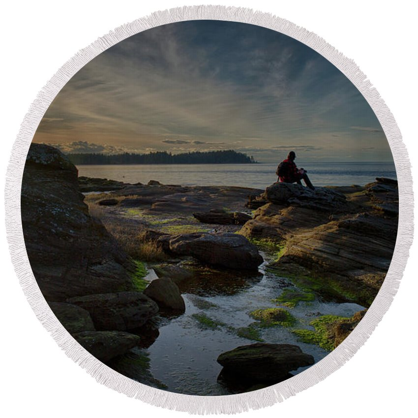 Rocks Round Beach Towel featuring the photograph Spring Evening by Randy Hall