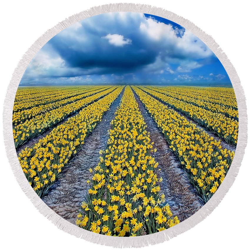Flowers Round Beach Towel featuring the photograph Spring Fields by Jacky Gerritsen
