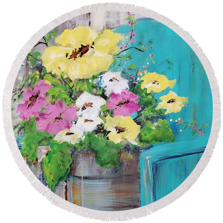 Floral Round Beach Towel featuring the painting Spring Floral by Terri Einer