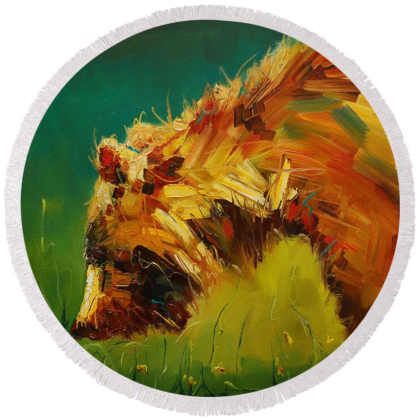 Bear Round Beach Towel featuring the painting Spring Flower Bear by Diane Whitehead