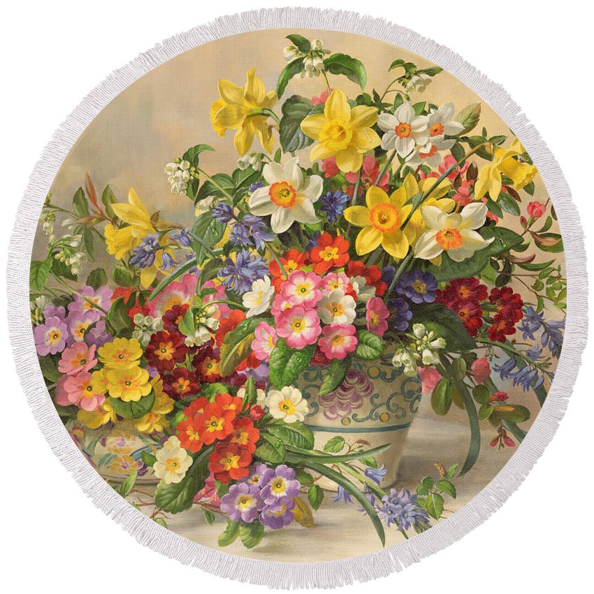 Primula; Daffodil; Primula; Narcissi; Spring Flowers; Flower; Flowers; Pool Pottery Round Beach Towel featuring the painting Spring Flowers And Poole Pottery by Albert Williams