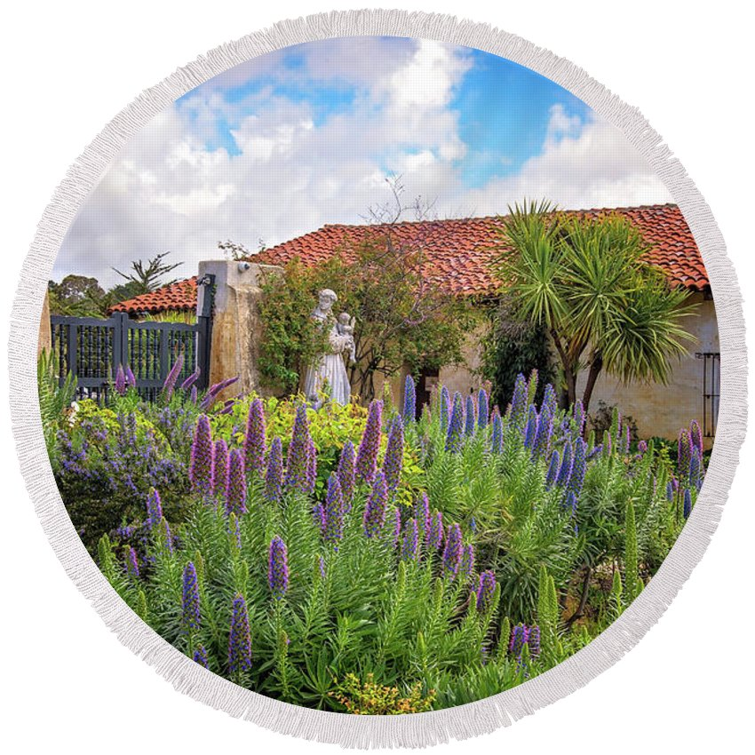 Missions Round Beach Towel featuring the photograph Spring Flowers In The Carmel Mission Garden by Lynn Bauer