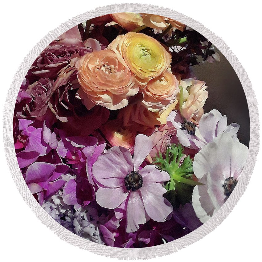 Spring flowers purple and yellow accent bouquet round beach towel spring flowers round beach towel featuring the digital art spring flowers purple and yellow accent bouquet mightylinksfo