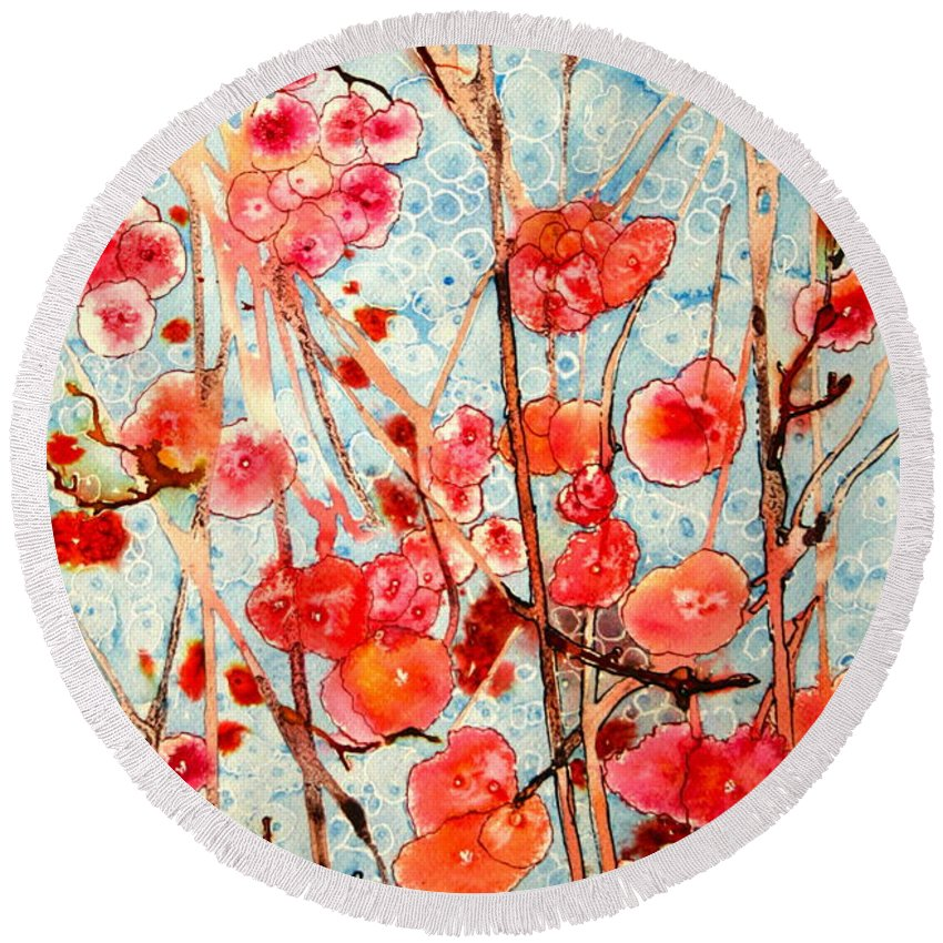 Floral Round Beach Towel featuring the painting Spring Flowers by Shirley Sykes Bracken