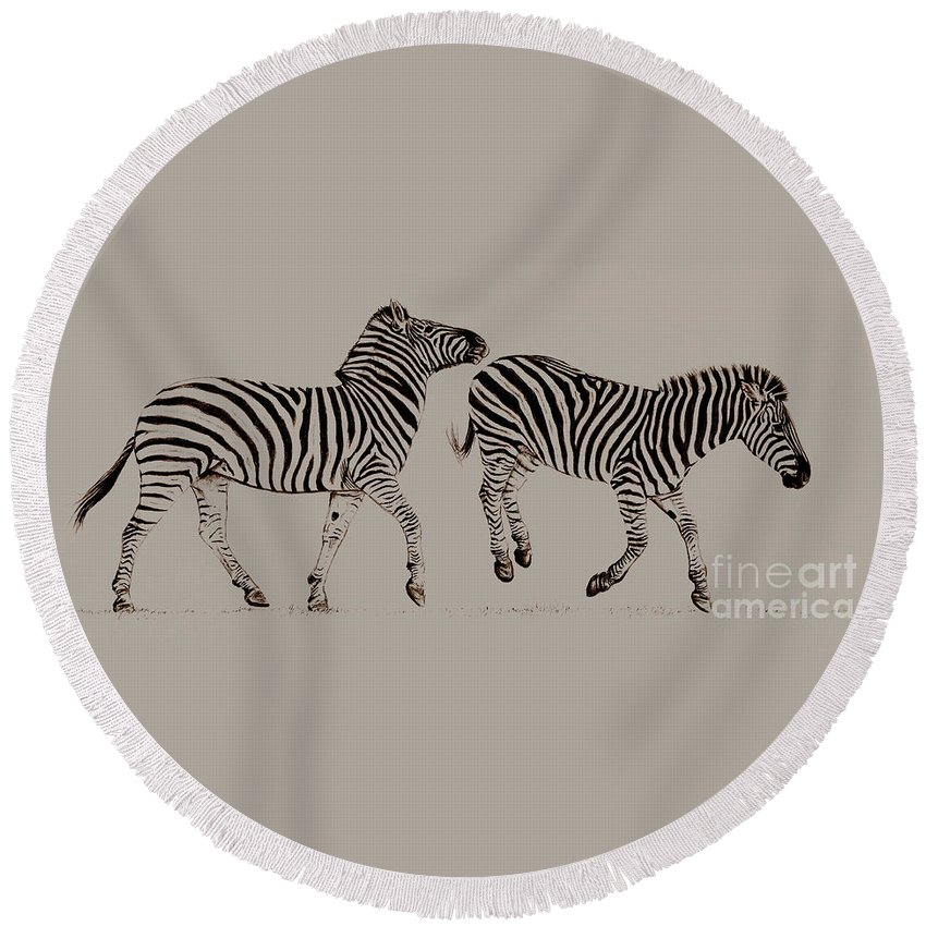 Zebra Round Beach Towel featuring the painting Spring Frolics by Caroline Collinson