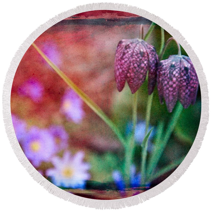 Bloom Round Beach Towel featuring the digital art Spring Garden by Chris Lord