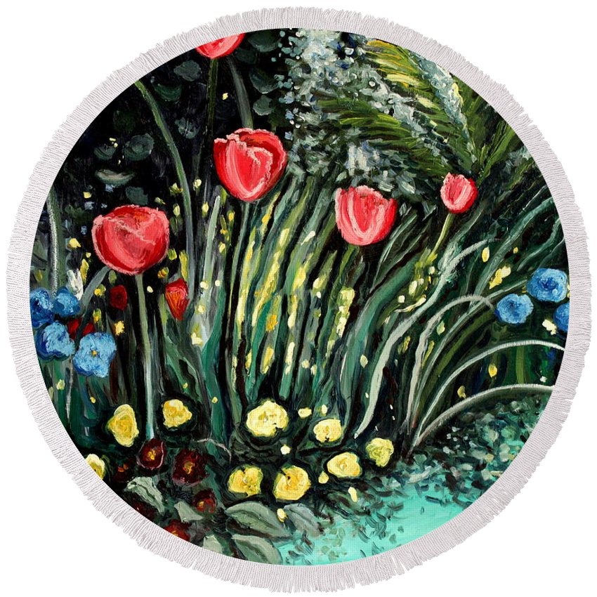 Impressionistic Round Beach Towel featuring the painting Spring Garden by Elizabeth Robinette Tyndall