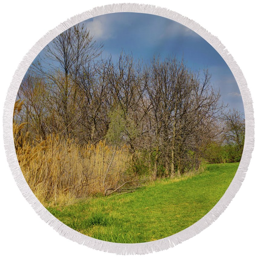 Trees Round Beach Towel featuring the photograph Spring Grass by Alan Look