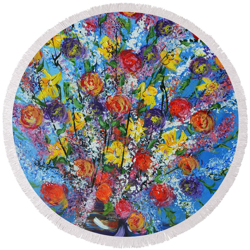 Abstract Flowers Round Beach Towel featuring the painting Spring Has Sprung- Abstract Floral Art- Still Life by Kathy Symonds