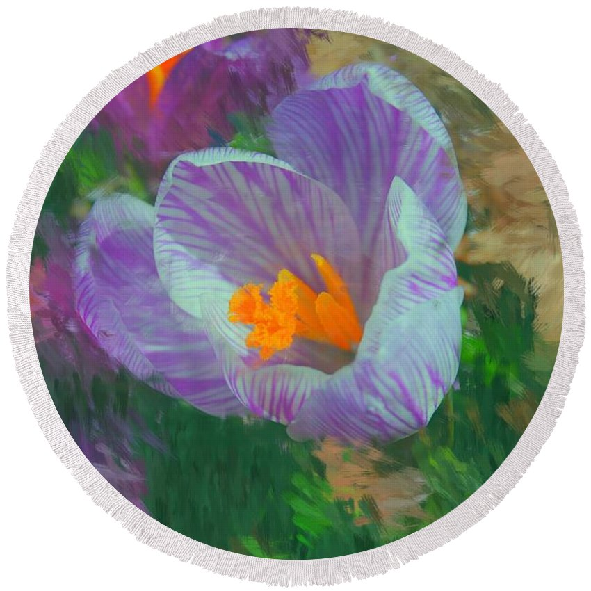 Digital Photography Round Beach Towel featuring the digital art Spring Has Sprung by David Lane