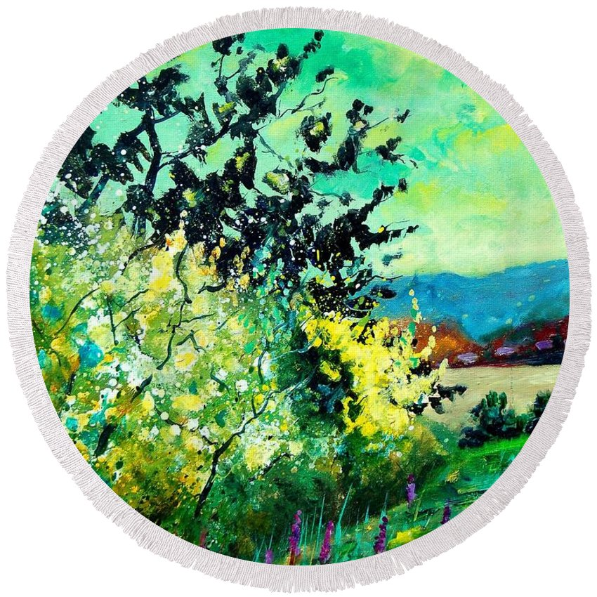 Spring Round Beach Towel featuring the painting spring in Ciergnon by Pol Ledent