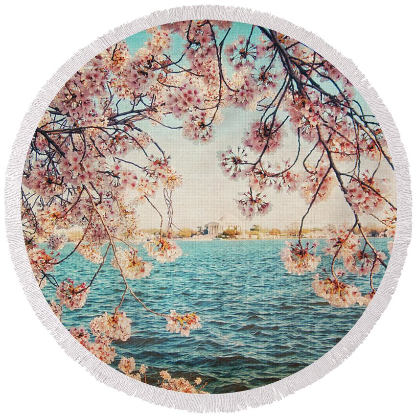 Cherry Blossoms Round Beach Towel featuring the photograph Spring In Dc by Emily Kay