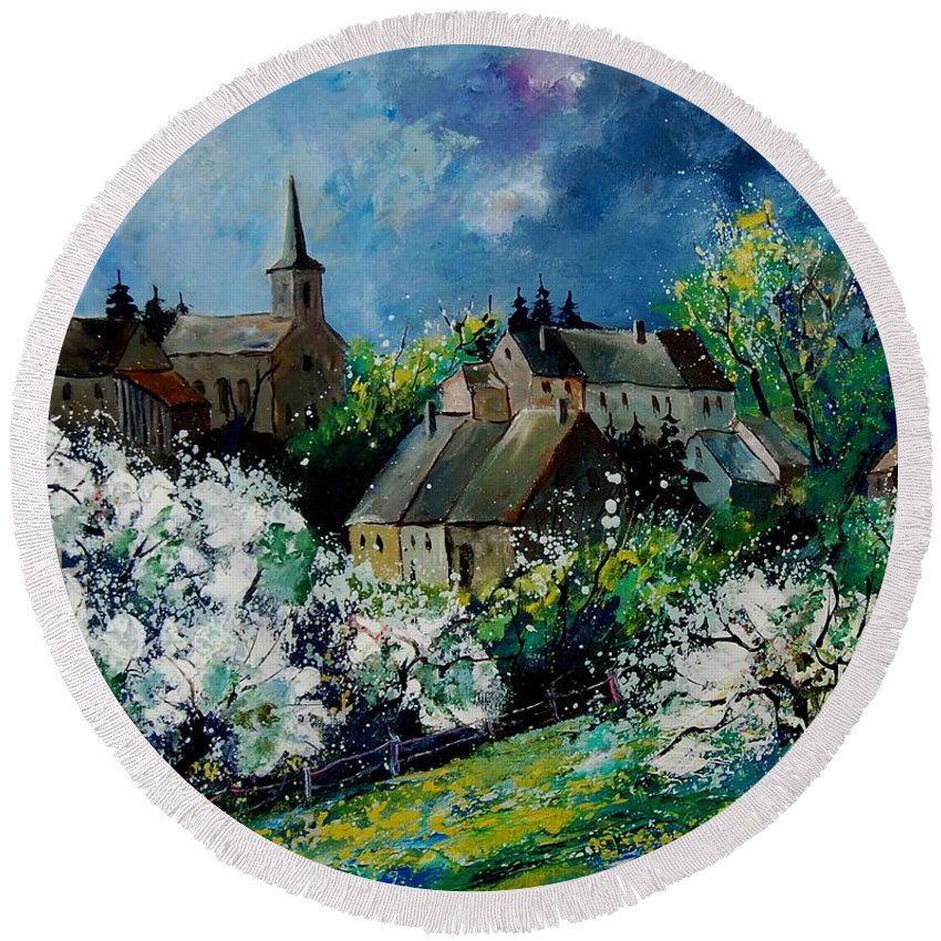 Spring Round Beach Towel featuring the painting Spring In Fays Famenne by Pol Ledent