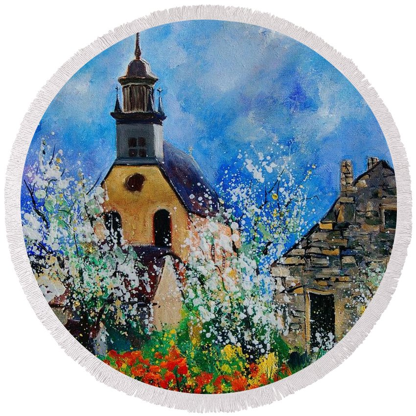 Spring Round Beach Towel featuring the painting Spring In Foy Notre Dame Dinant by Pol Ledent