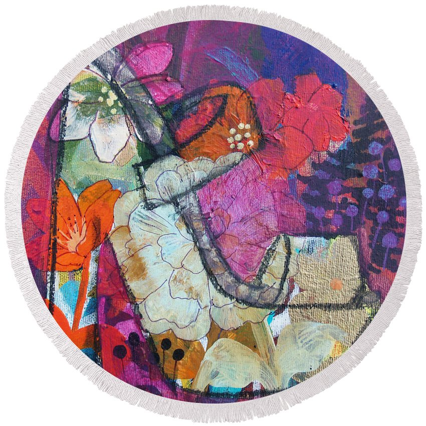 Shoe Round Beach Towel featuring the painting Spring In My Step by Robin Maria Pedrero