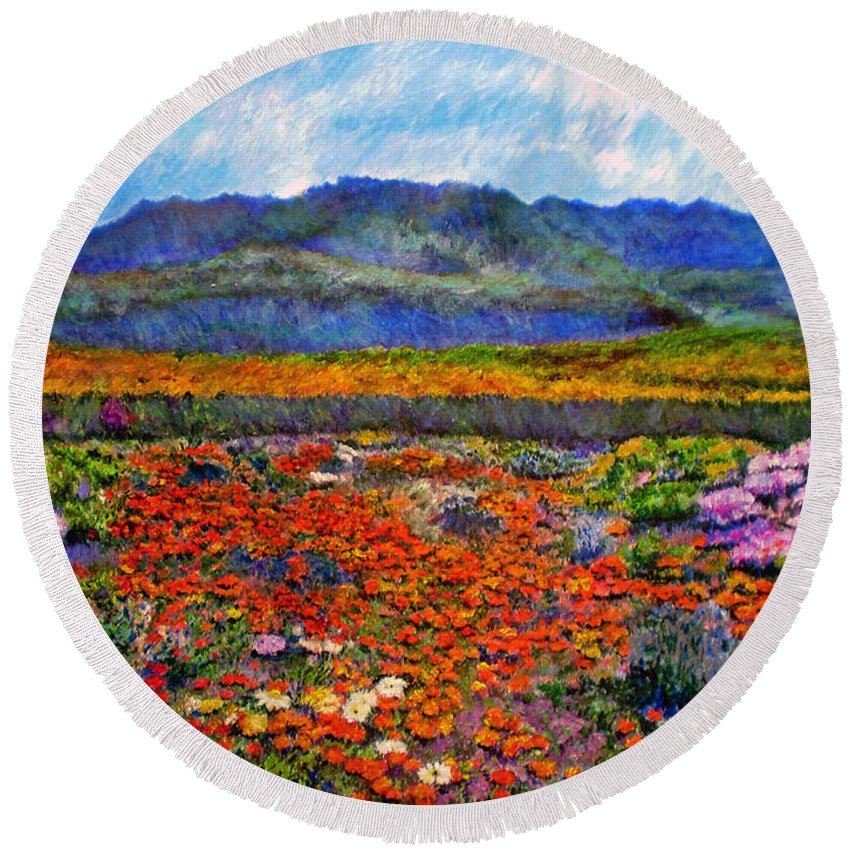 Spring Round Beach Towel featuring the painting Spring In Namaqualand by Michael Durst