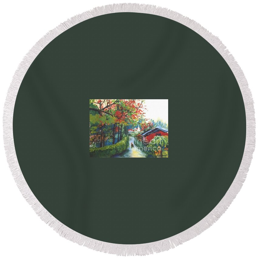 Spring Round Beach Towel featuring the painting Spring In Southern China by Guanyu Shi