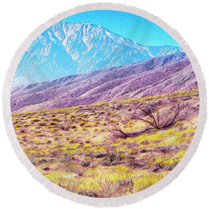 Desert Round Beach Towel featuring the painting Spring In Whitewater Canyon by Dominic Piperata