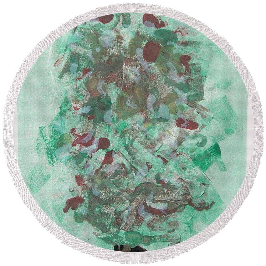 Monoprint Round Beach Towel featuring the mixed media Spring Interlude by Cori Solomon