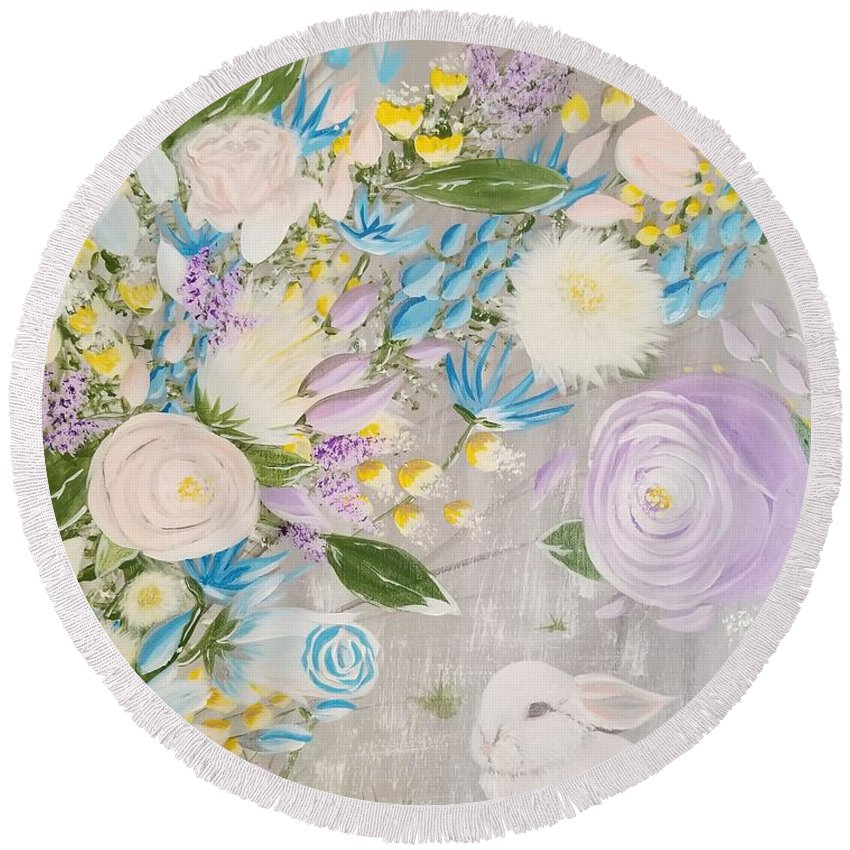 Easter Round Beach Towel featuring the painting Spring Into Easter by Roxane Gabriel