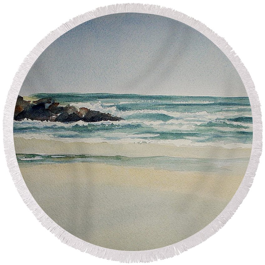 Watercolor Round Beach Towel featuring the painting Spring Lake Beach by Nicole Curreri