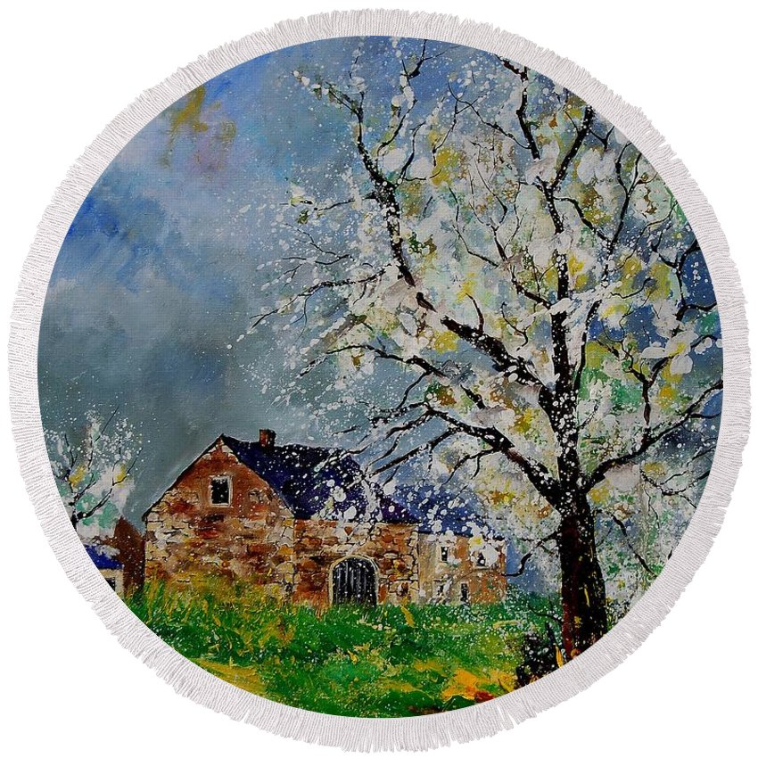 Spring Round Beach Towel featuring the painting Spring Landscape by Pol Ledent