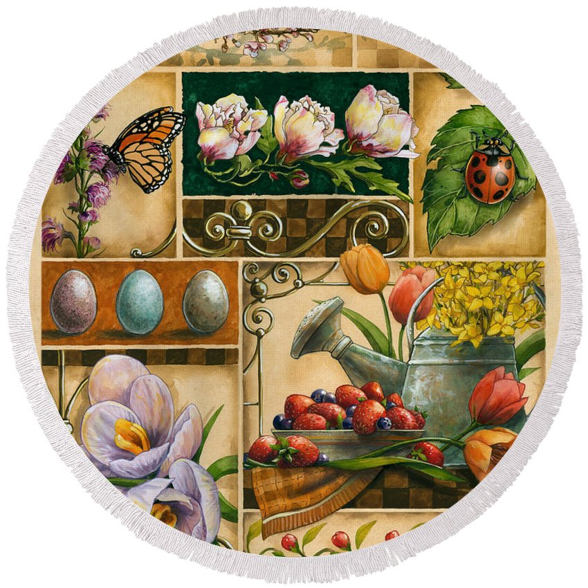 Janet Stever Round Beach Towel featuring the painting Spring Montage by Janet Stever