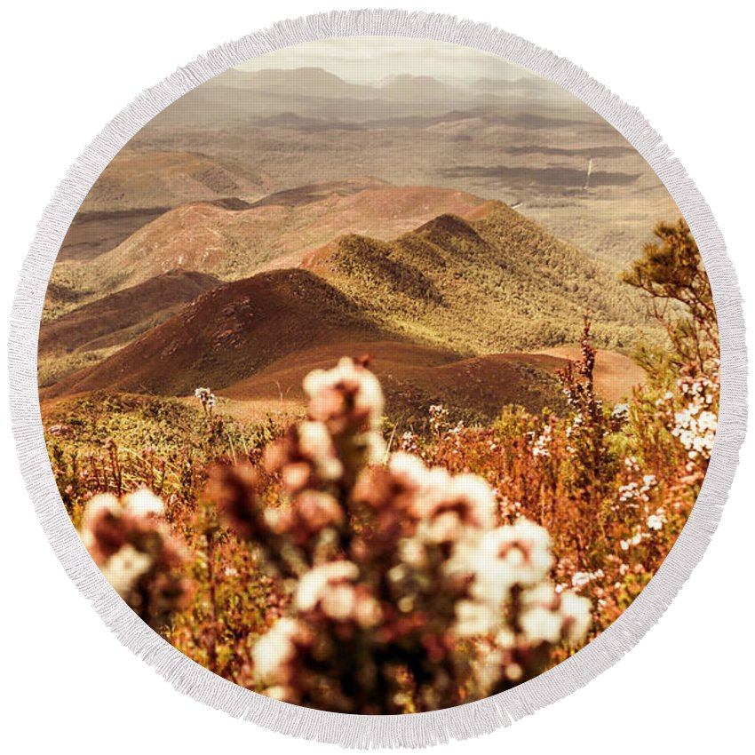 Nature Round Beach Towel featuring the photograph Spring Mountain Blossoms by Jorgo Photography - Wall Art Gallery