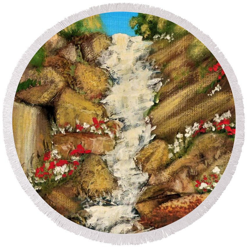 Landscape Round Beach Towel featuring the painting Spring Mountain Waterfall by Sharon Eng