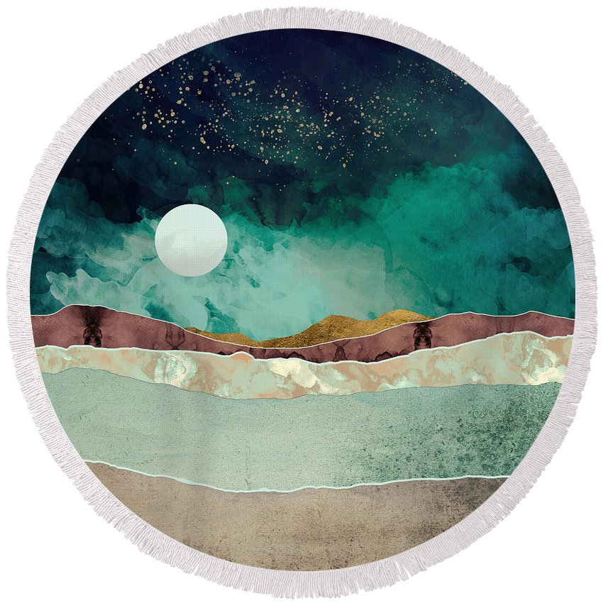 Spring Round Beach Towel featuring the digital art Spring Night by Katherine Smit