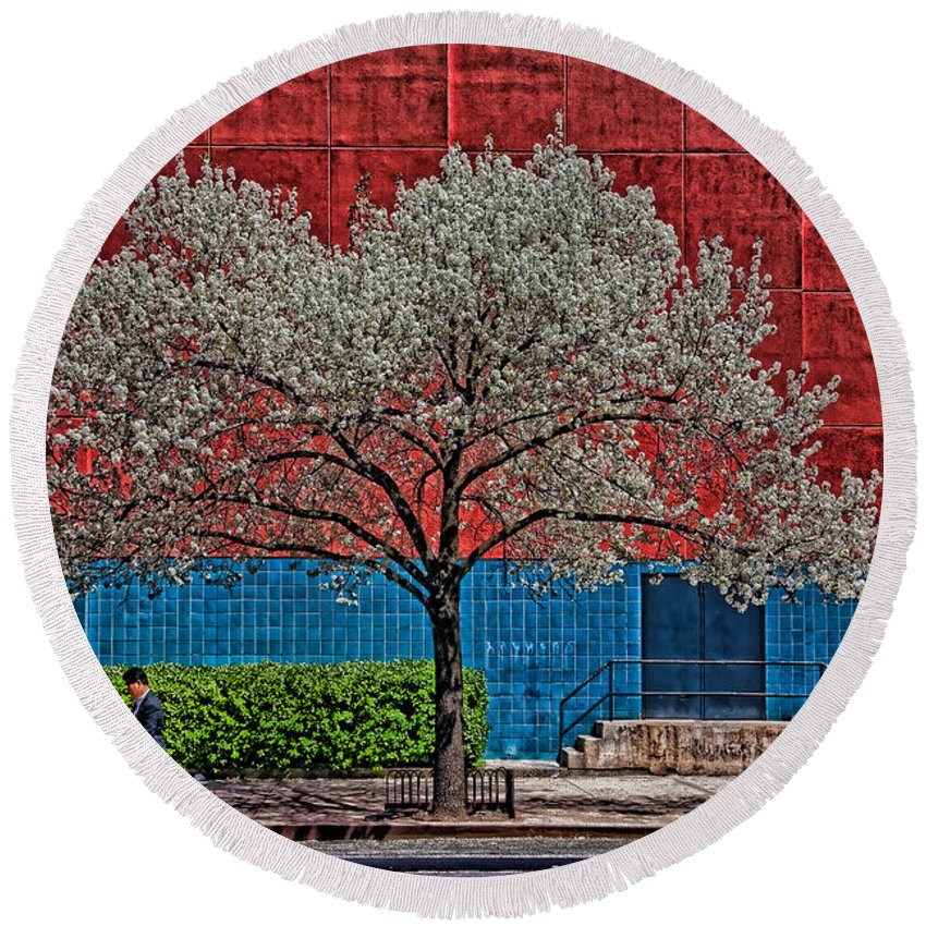 Hdr Round Beach Towel featuring the photograph Spring On Twenty Third by Chris Lord