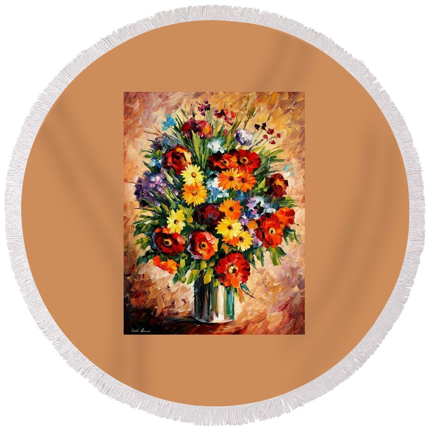 Afremov Round Beach Towel featuring the painting Spring Passion by Leonid Afremov