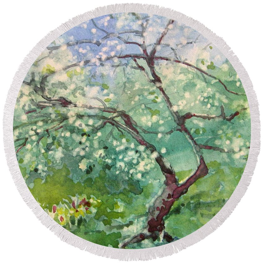 Plum Tree Round Beach Towel featuring the painting Spring Plum by Elizabeth Carr