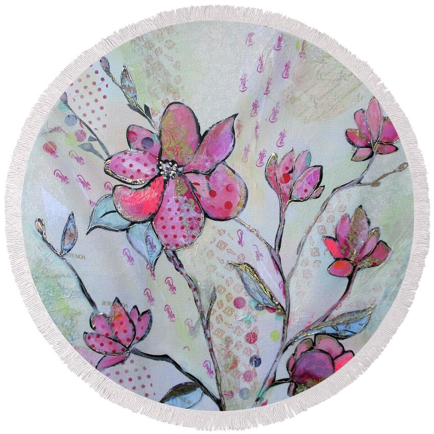 Pink Round Beach Towel featuring the painting Spring Reverie IIi by Shadia Derbyshire