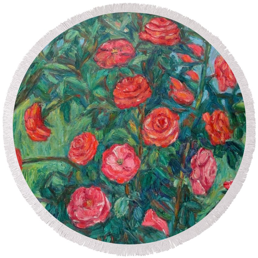 Rose Round Beach Towel featuring the painting Spring Roses by Kendall Kessler