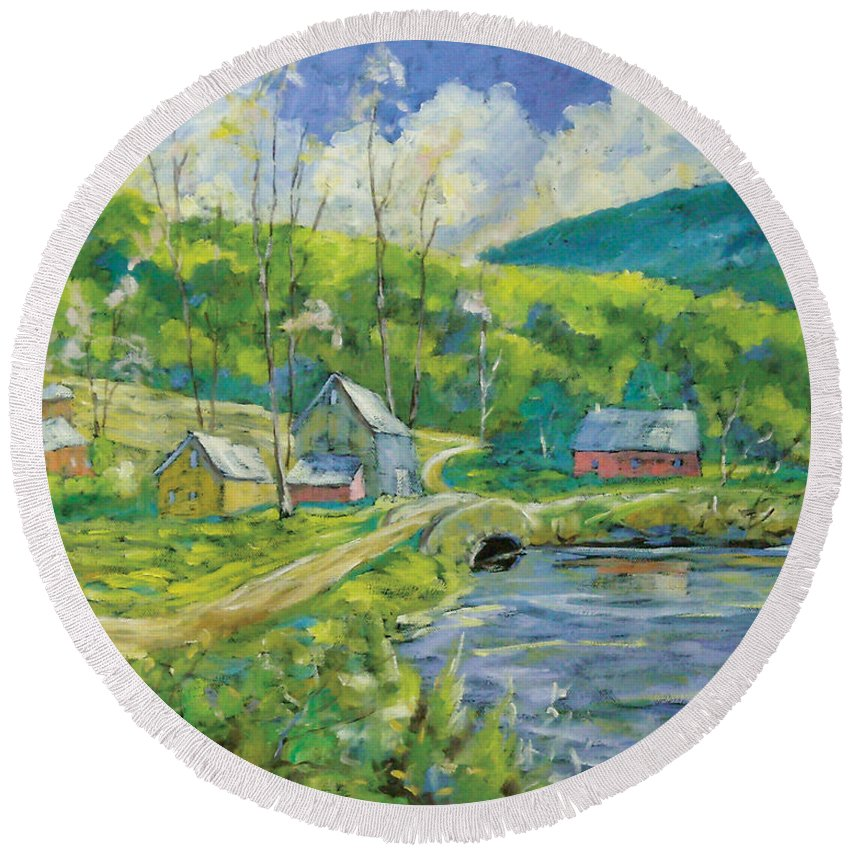 Landscape Round Beach Towel featuring the painting Spring Scene by Richard T Pranke
