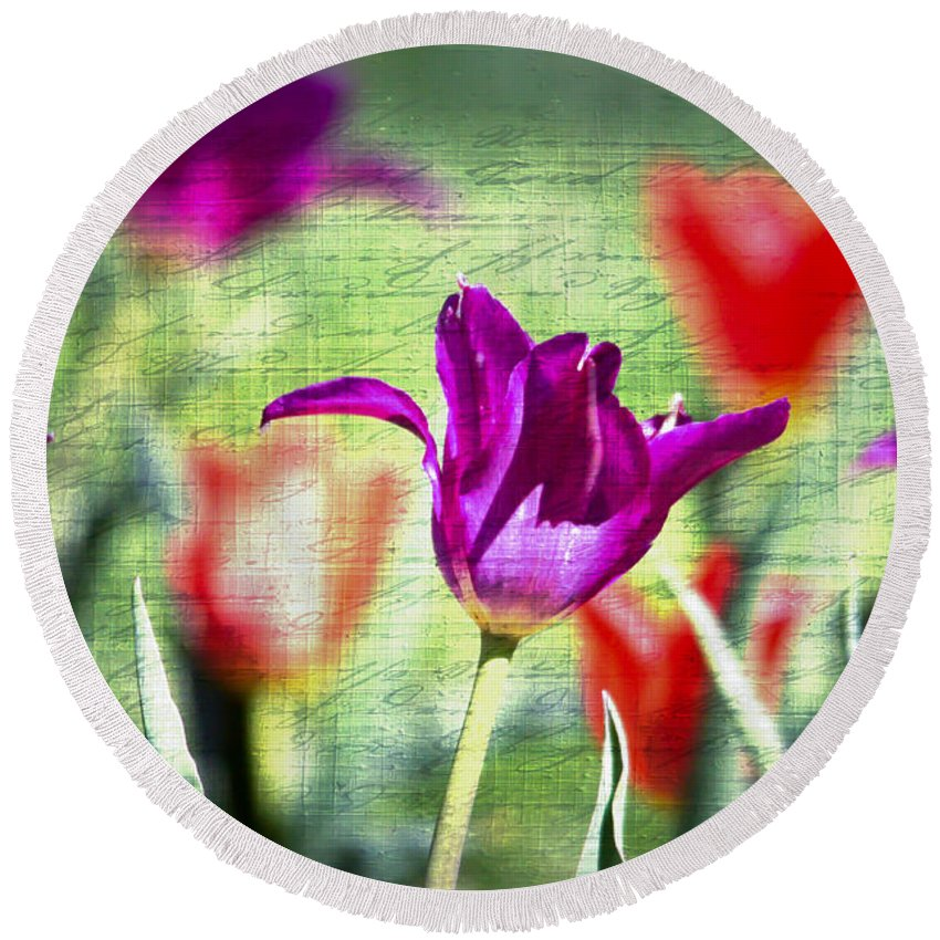 Tulips Round Beach Towel featuring the photograph Spring Sensations by Kerri Farley