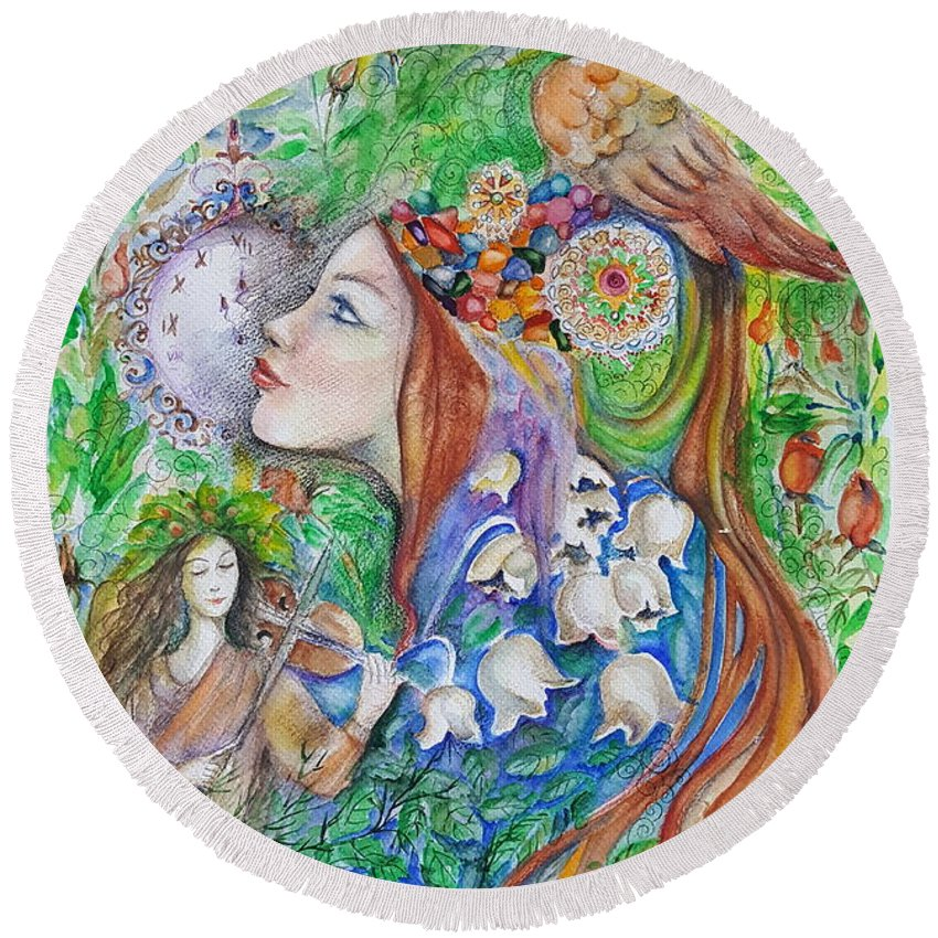 Lilies Of The Valley Round Beach Towel featuring the mixed media Spring Song by Rita Fetisov