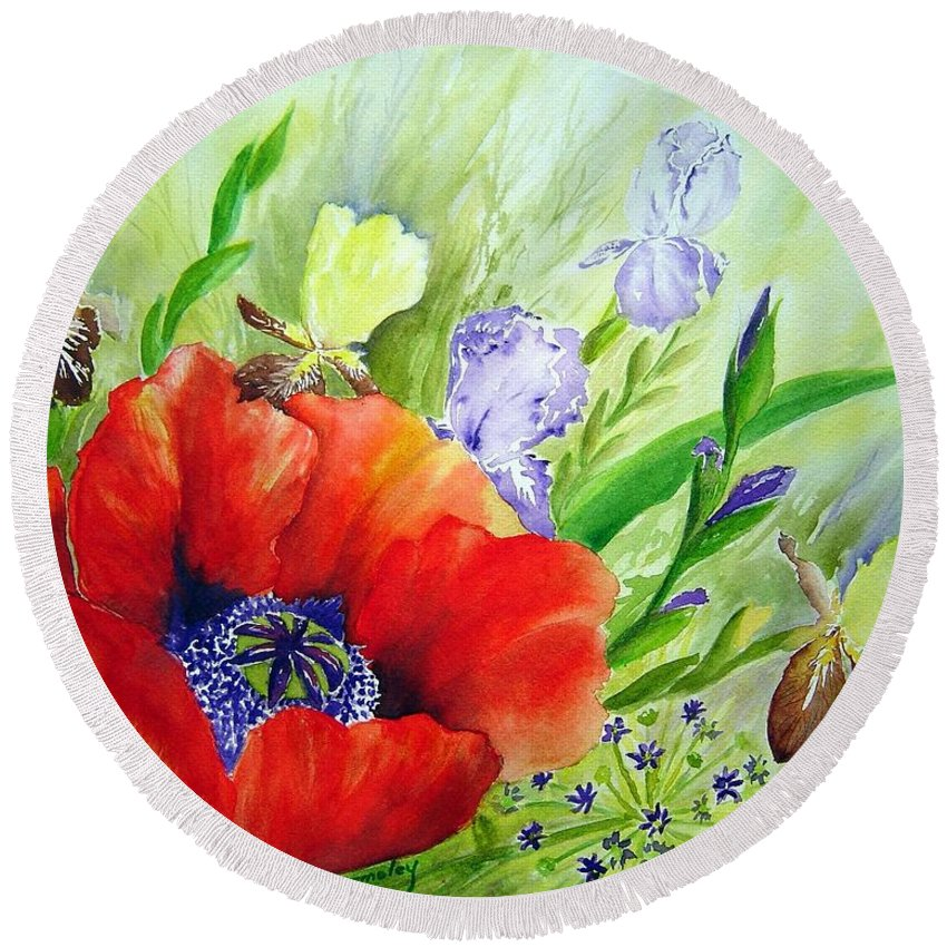 Poppy Iris Floral Painting Round Beach Towel featuring the painting Spring Splendor by Joanne Smoley