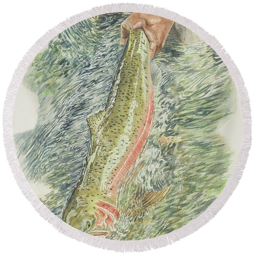 Steelhead Round Beach Towel featuring the painting Spring Steel No. 2 by Link Jackson