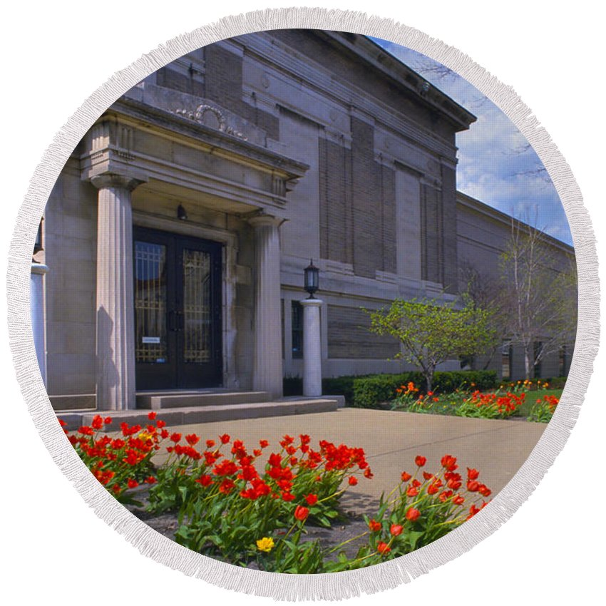 Photography Round Beach Towel featuring the photograph Spring Time At The Muskegon Museum Of Art by Frederic A Reinecke